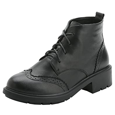 Women's Brogue Wingtip Ankle High Comfort Leather Motorcycle Boots
