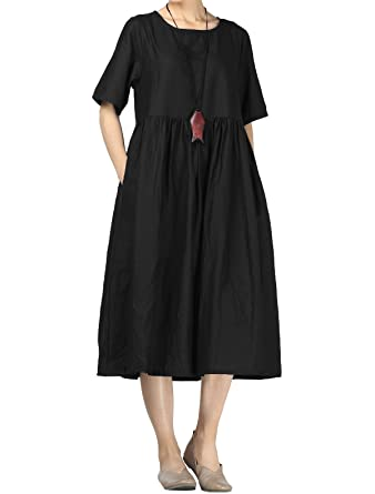 6f5706ea15fe Mordenmiss Women s Cotton Linen Dress Summer Midi Dresses with Pockets (M  Black)