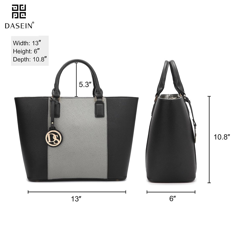 Dasein Women's Top Handle Structured Two Tone Tote Bag Satchel Handbag Shoulder Bag With Shoulder Strap