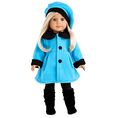 DreamWorld Collections - Parisian Stroll - 4 Piece Outfit - Blue Fleece Coat with Matching Beret, Black Leggings and Boots - Clothes Fits 18 Inch American Girl Doll (Doll Not Included): Toys & Games