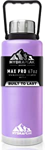 Hydrapeak 67oz Water Bottle, Double Wall Stainless-Steel Vacuum Insulated Thermos Canteen, Wide Mouth Flask BPA-Free Leak-Proof Growler with Handle Lid - Lilac