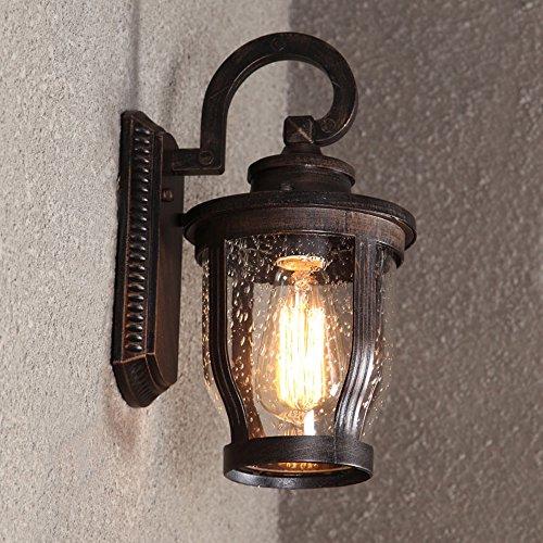 KMYX American Vintage Wall Lantern Retro Aluminum Waterproof Outdoor Wall Lamp Creative Glass Wall Sconces Decorative Garden Terrace Aisle Courtyard Exterior Industrial Wall Lighting ()