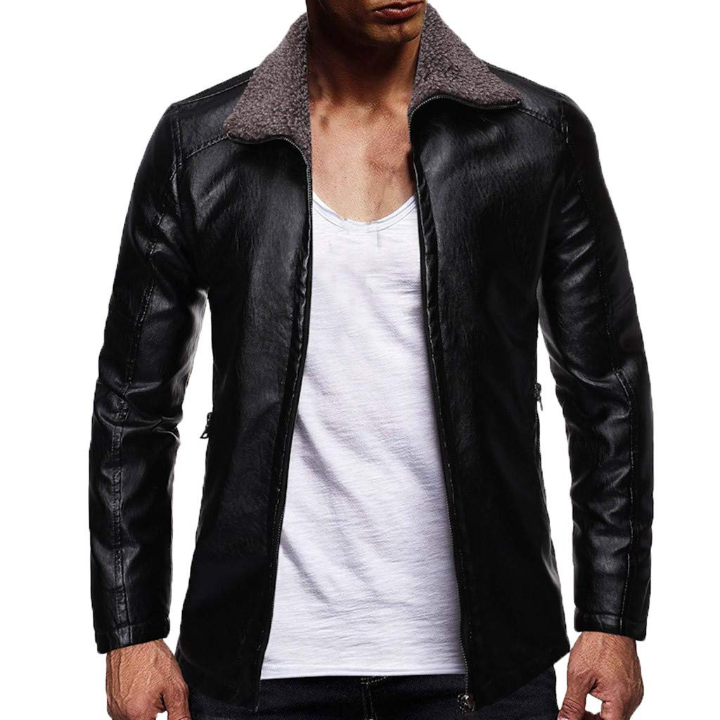 Allywit-Mens Casual Stand Collar Slim PU Leather Sleeve Bomber Jacket Big and Tall Black by Allywit-Mens