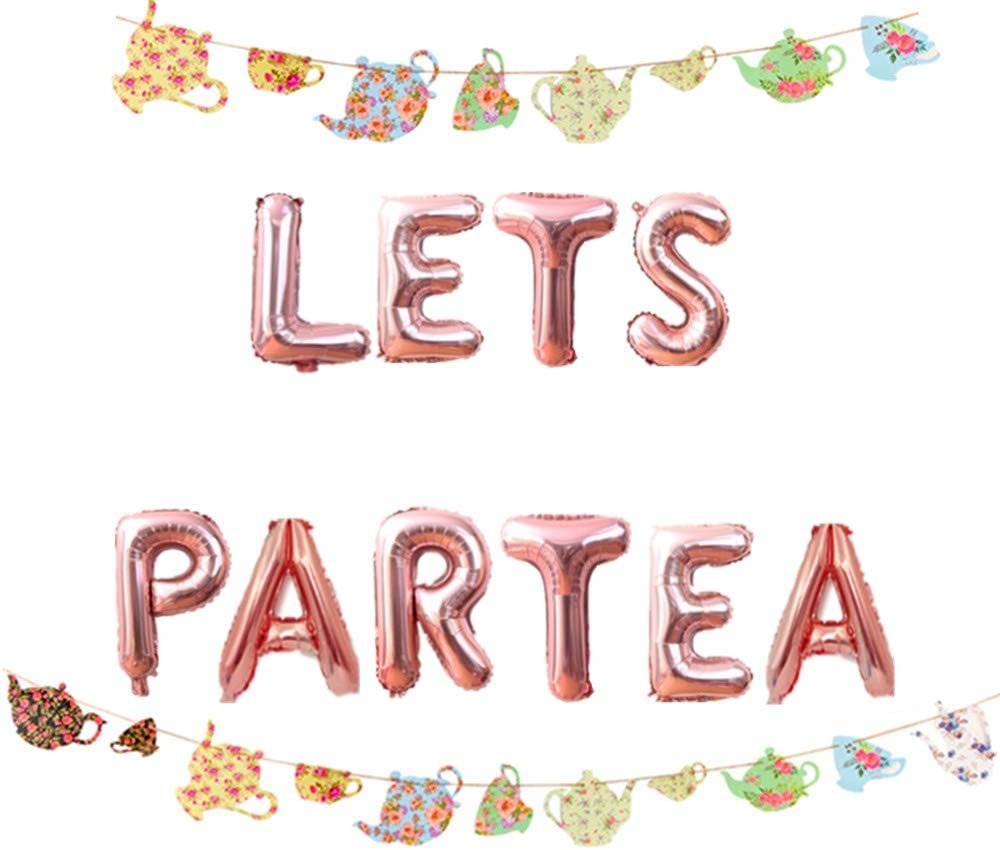LaVenty Set of 2 LET'S PAR TEA Balloons Tea Party Birthday Banner Tea Party Decorations Lets Par-Tea Party Decor Par Tea First Birthday Decoration Par Tea 2nd Birthday Banner