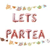 LaVenty Set of 2 LET'S PAR TEA Balloons Tea Party Birthday Banner Tea Party Decorations Lets Par-Tea Party Decor Par Tea Firs