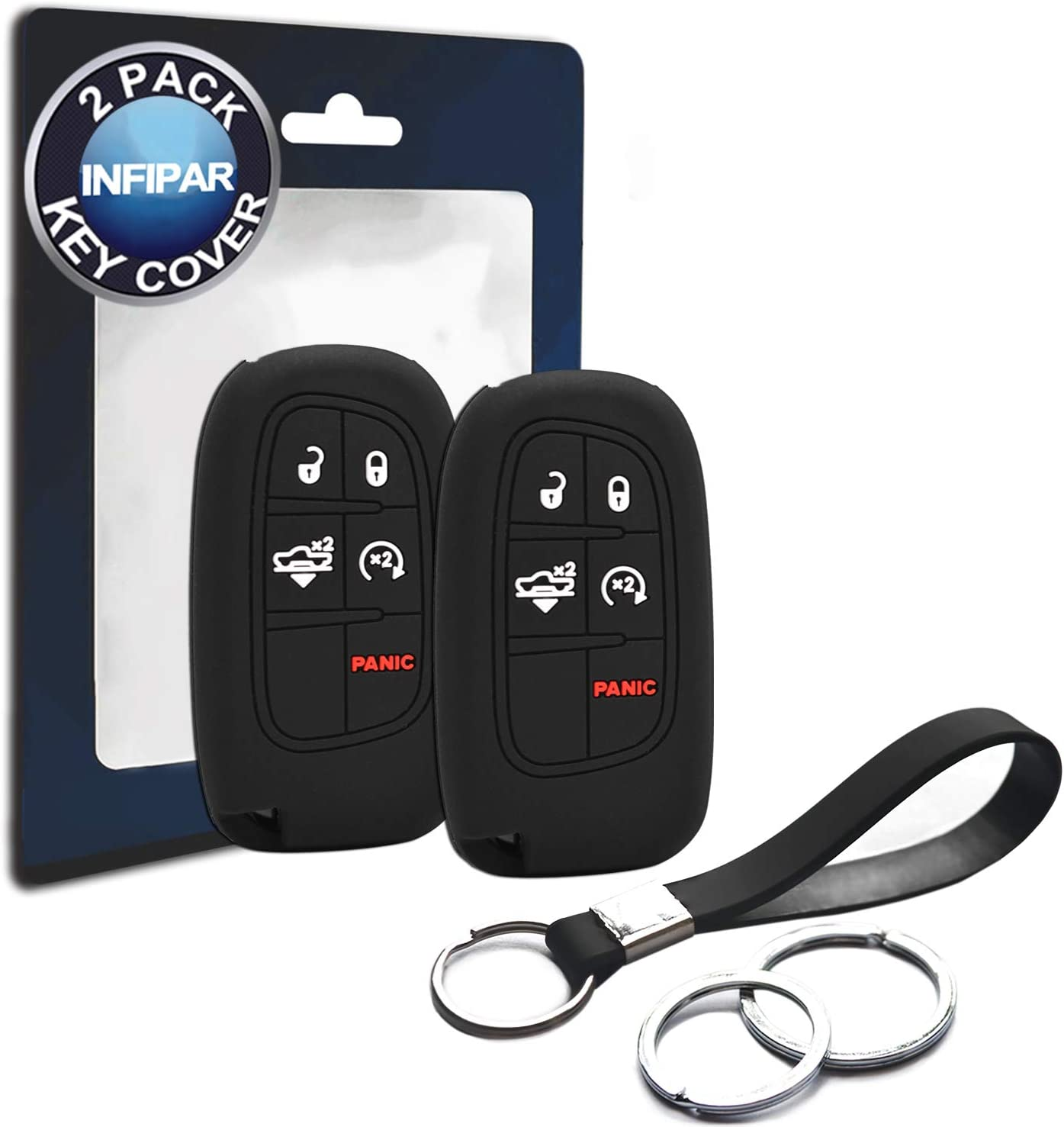 Silicone Smart Key Fob Covers Case Protector Keyless Remote Holder for 2019 Dodge Ram 1500 6 Buttons Smart Key Fob Remote Key Case Holder,Protective case