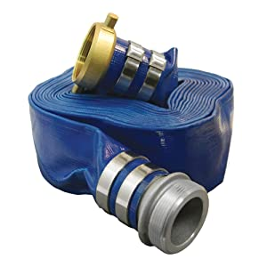 """Apache 98138065 3"""" x 50' Blue PVC Lay-Flat Discharge Hose with Aluminum Pin Lug Fittings"""
