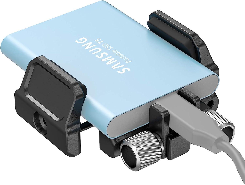 SMALLRIG SSD Mount Bracket SSD Holder for Samsung T5 SSD, SanDisk SSD, SanDisk SSD T5, Compatible with SMALLRIG Cage for BMPCC 4K & 6K Z Cam E2 & Sigma fp - BSH2343