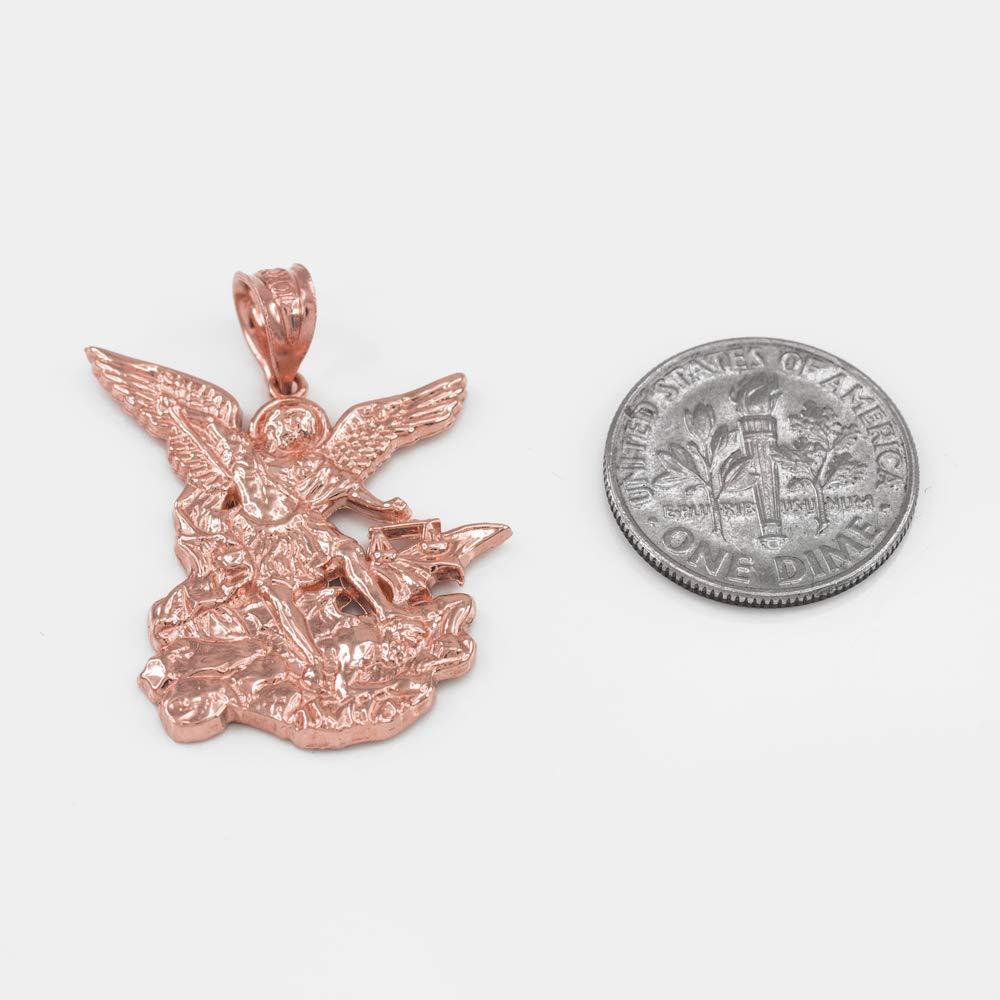 LA BLINGZ 14K Rose Gold St Michael Pendant Necklace