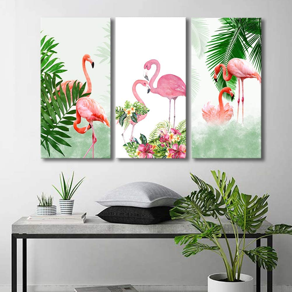 "ARTLAND Canvas Prints Wall Art Decor for Living Room,3 Panels"" Flamingo And Green Tropical Plant""Streched and Framed artwok Ready to Hang for Home Office Bedroom Wall Decoration 36x24inches"