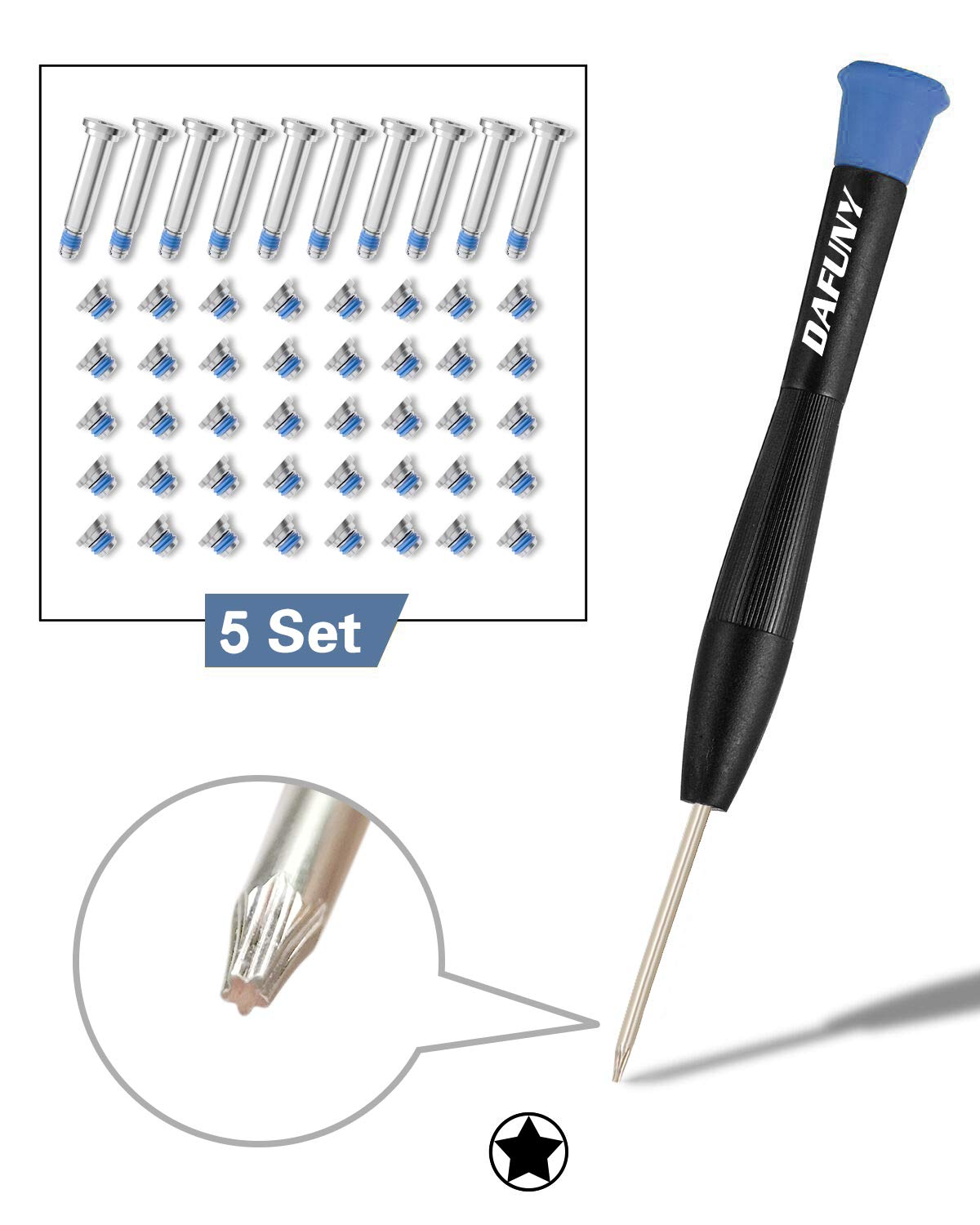 DAFUNY Repair Replacement Screws 5 Set(50pcs) Compatible with Unibody Macbook Air + 1pcs 5-point Pentalobe Screwdriver for 13 inch A1369 A1466 Bottom Case, 2010 2011 2012 2013 2014 2015 and 2016 Model