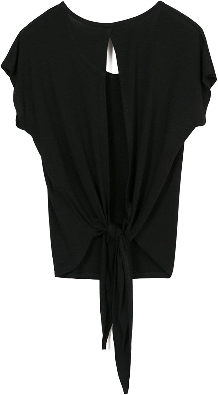 icyzone Damen R/ückenfrei Sport T-Shirt Kurzarm Oberteil Yoga Tops Casual Shirt Loose Fit 2er Pack