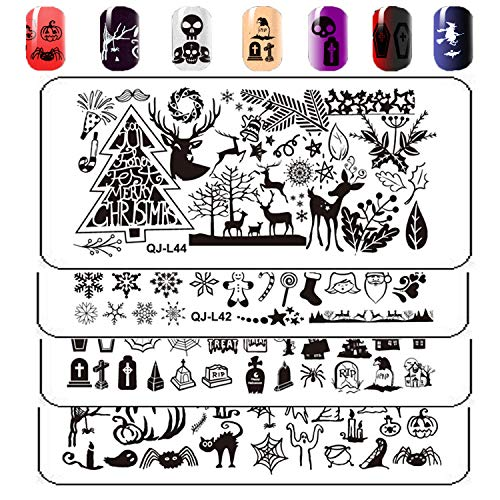 ARTIFUN 4pcs Halloween & Christmas Stamping Plates Nail Stamp Templates for DIY Nail Art Salon -