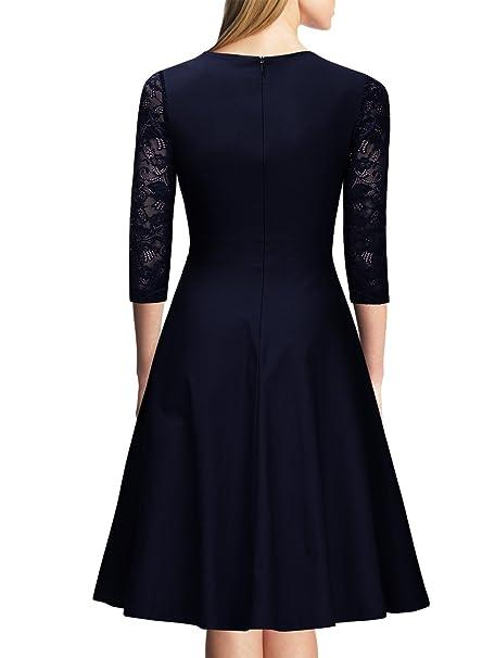 Miusol Casual Encaje Contraste Slim Vestido Corto para Mujer: Amazon.es: Ropa y accesorios