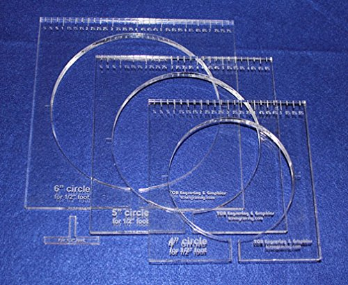 """3 Piece Inside Circle Set W/rulers ~3/8"""" Thick - Long Arm..."""