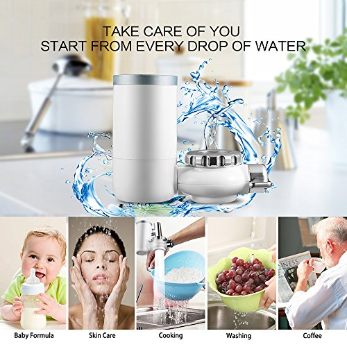 Faucet Water Filter, 8 Stage Water Filtration Faucet Mount, 7 Different Kinds of Interfaces, Suitable for Most Faucets, Easy to Install, 0.46gal/min/100kpa Large Filtration Discharge System White by Kaleidoscope (Image #1)