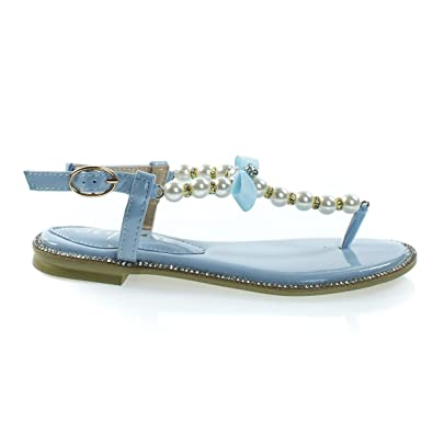 Apollo18K Blue Children   Girl Pearl   Sparkly Rhinestone Flat Dress Sandal