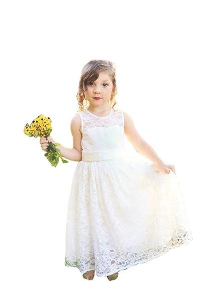 5600b81f347 Magicdress Vintage Flower Girls Lace Dresses White Princess ...