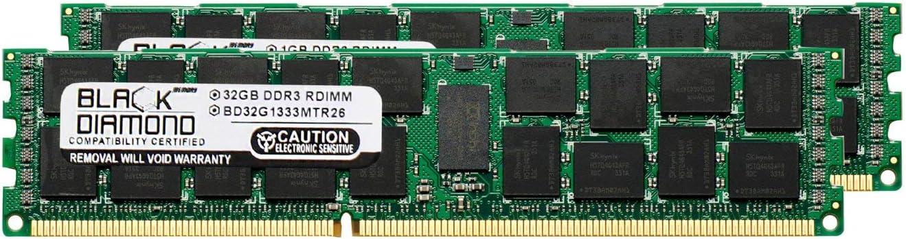 625545-B21 64GB 2X32GB Memory RAM for Compaq ProLiant SL390s G7 DDR3 ECC Registered RDIMM 240pin PC3-10600 1333MHz Black Diamond Memory Module Upgrade