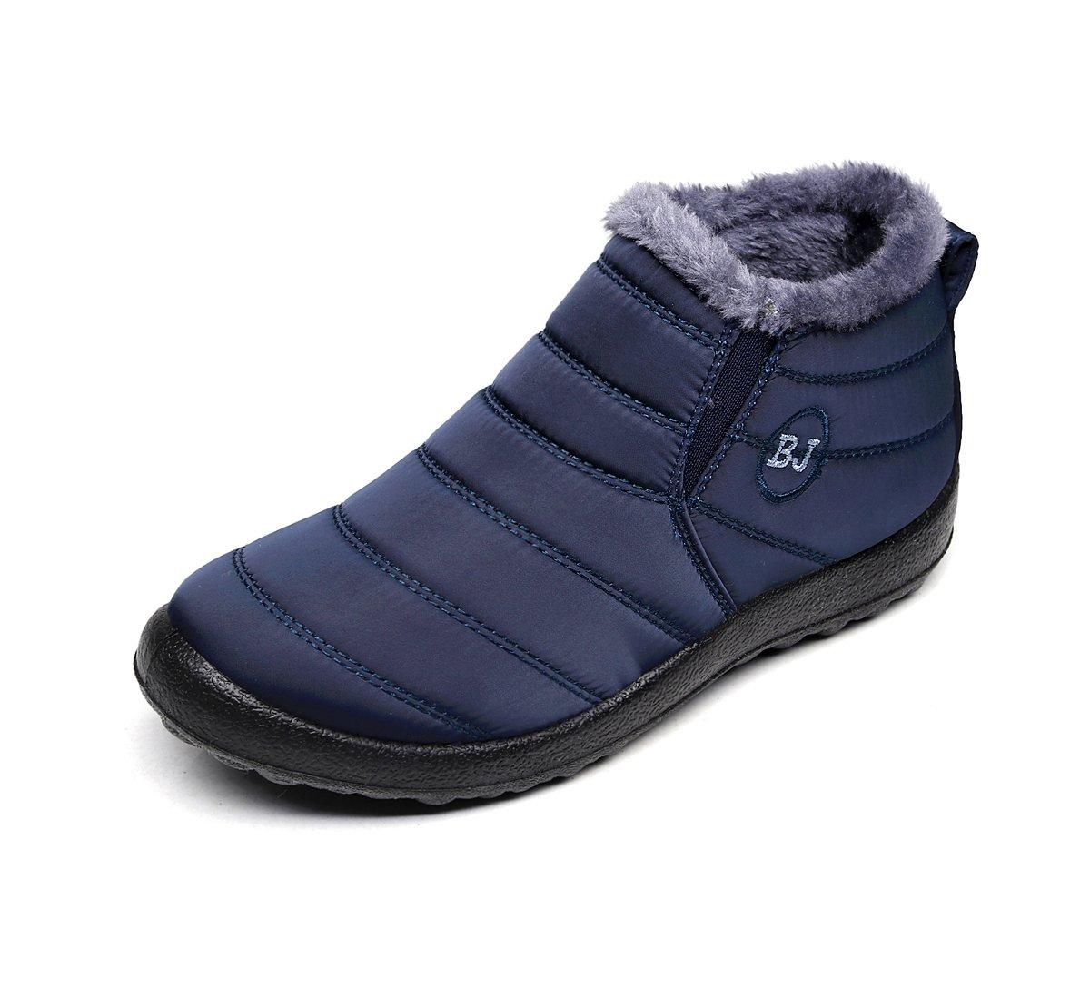 Chaussures Bottes Boots de Neige avec Femme Chaud Imperméable Doublure Cheville Hiver Boots Imperméable avec Epais Fourrure Bottine pour Hommes Femme Bleu Profond d4eb339 - conorscully.space