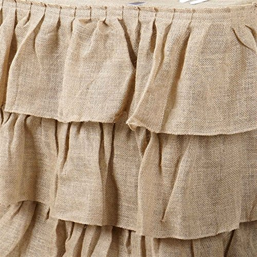 3 Tier Rustic Elegant Ruffled Burlap Table Skirt - 17 Ft by MFS