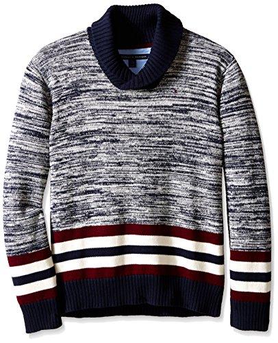 Tommy Hilfiger Big Boys' Long Sleeve Cowl Collar Sweater, Swim Navy, Medium
