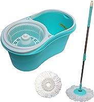Kit Spin Mop De Limpeza Com Esfregao Balde Centrifugador Mop Com Rotação 360 + Refil S-6 Azul