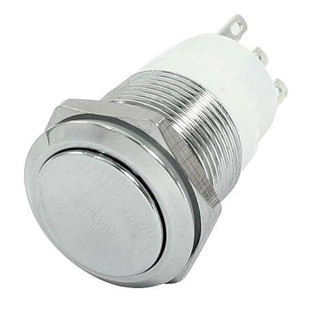 "3/4 ""rosca SPDT Soldadura Terminal pulsador momentáneo botón de interruptor ..."