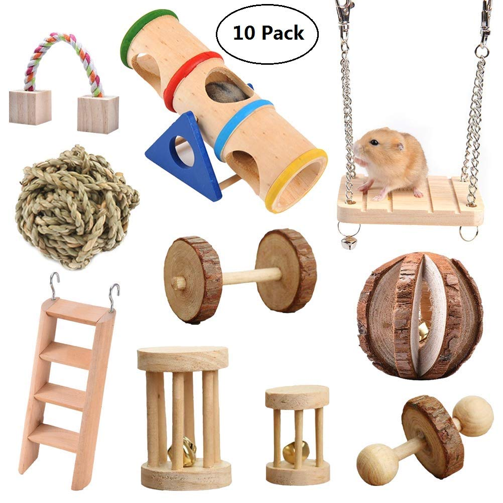 Vankcp 10 Pcs Hamster Chew Toys, Natural Wooden Chew Toys Pets Teeth Care Molar Ball for Small Animals Cat Rabbits Rat Guinea Pig by Vankcp