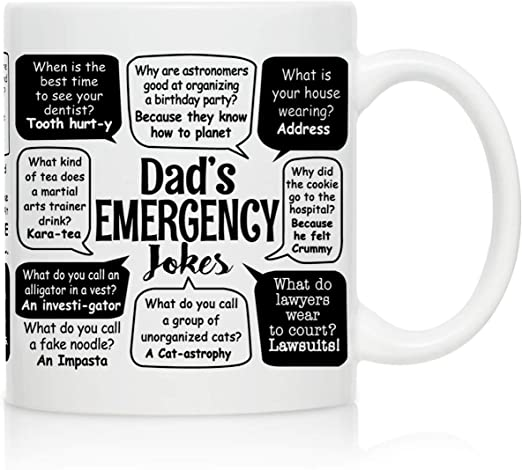 Amazon Com Novelty Coffee Mug For Dad Dad Jokes Wrap Around Print Gift Idea For Fathers Best Dad Gift Gag Father S Day Gift Funny Birthday Present For Dad From Daughter Son Kitchen