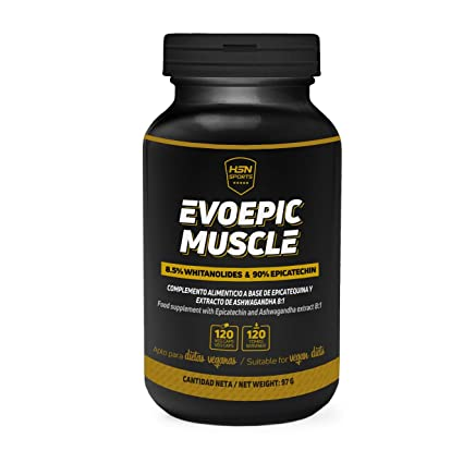HSN Sports – Inhibidor de Miostatina – Ashwaganda y Epicatequina – Evoepic Muscle – Constructor de