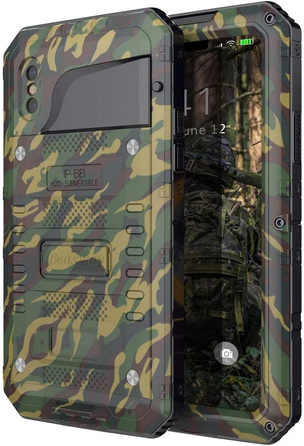 Beasyjoy iPhone Xs/X / 10 Metal Waterproof Case Aluminum Heavy Duty Strong Phone Cover with Screen Protector Shockproof Drop Proof Rugged Durable Hard Military Grade Camo/Camouflage