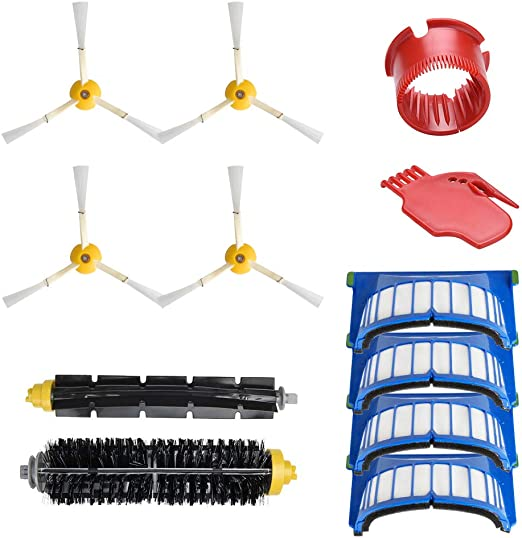 WEYO - Kit de accesorios de repuesto para iRobot Roomba 6 series 600 605 610 615 616 620 625 630 631 632 639 650 651 660 670 680 681 aspirador robot robot filtros HEPA + cepillos laterales: Amazon.es: Hogar
