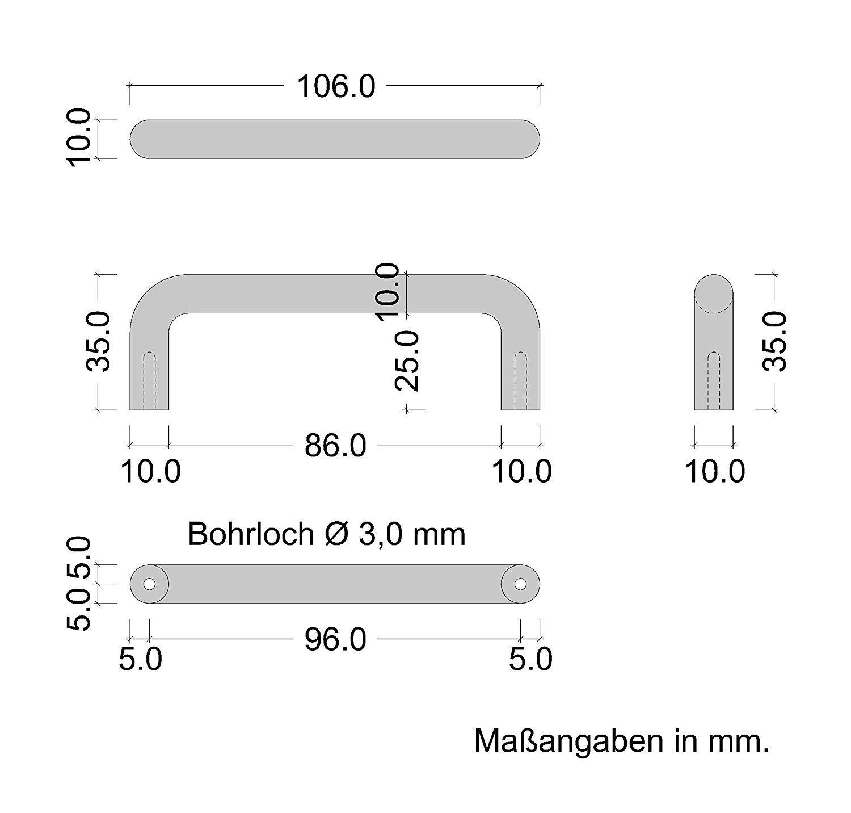 Entraxe 128 mm Finition Mat Poign/ée de Porte et Tiroir de Placard avec Vis de Fixation Armoire Meuble de Cuisine 1 Pi/èce Gedotec Poign/ée de Meuble en Acier Inoxydable AG 10001
