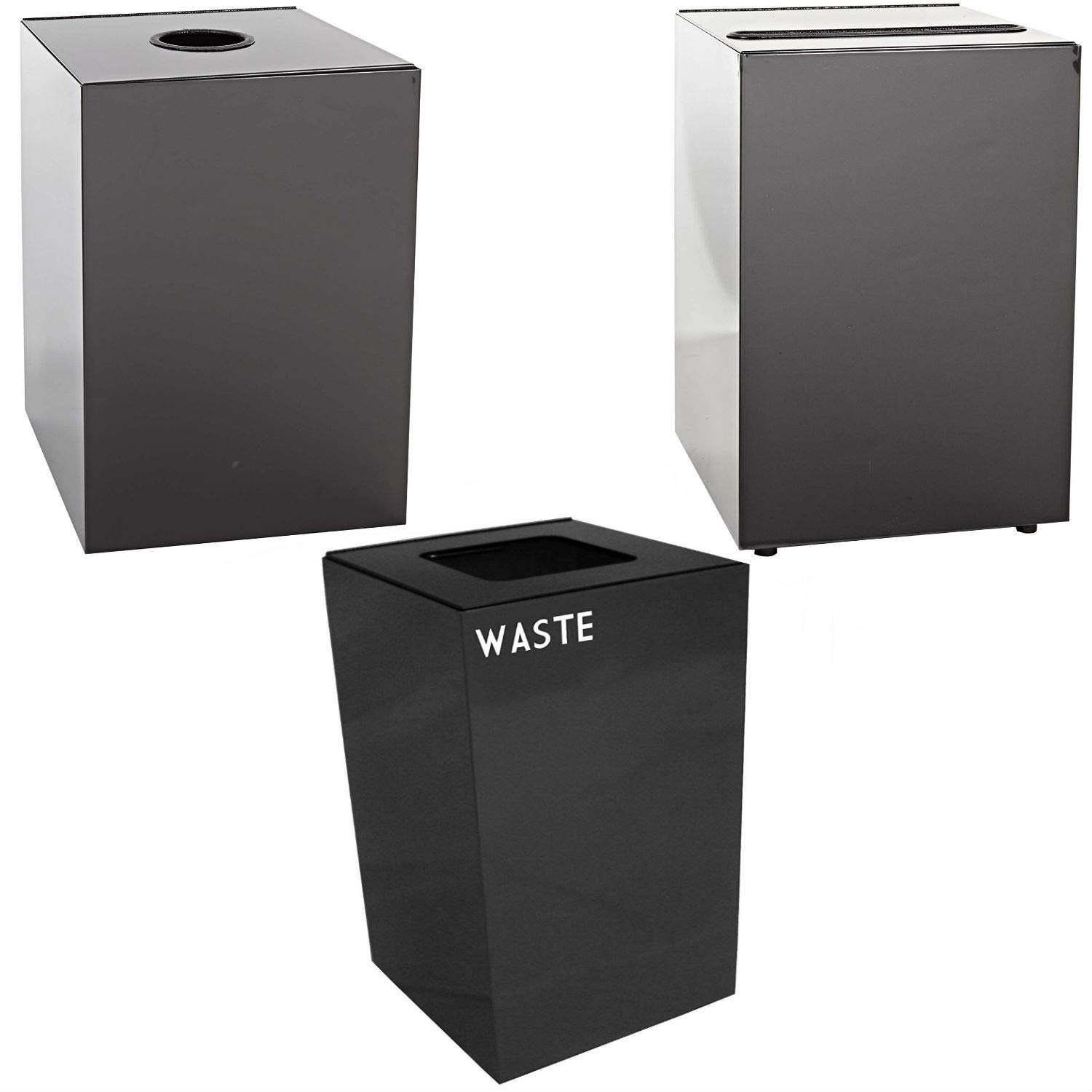 Witt Industries Steel 28-Gallon Geo Cube Recycling Container, Round Opening, Legend Cans, Slot Opening, Legend Newspaper & Square Opening, Legend Waste Square, Charcoal.