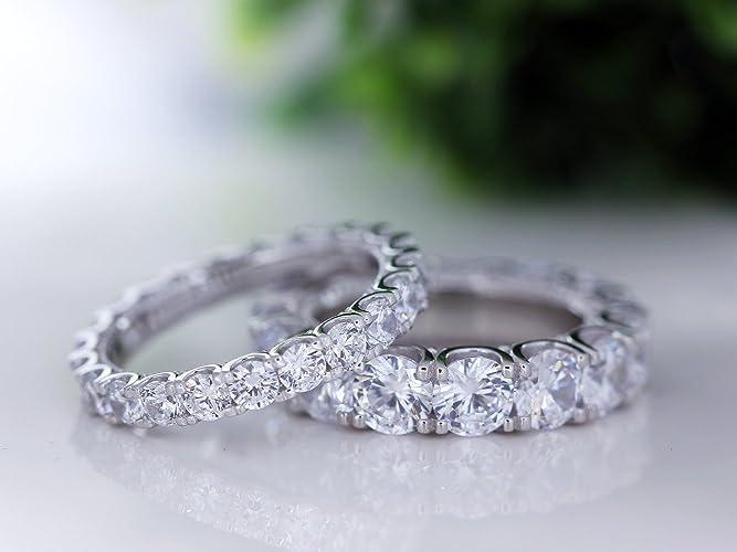 Amazoncom Silver CZ U Prong Eternity Rings Eternity Band Wedding