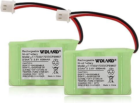 Wdland 3,6 V 400 mAh Uni BT-17333/CPB 9607 batería teléfono inalámbrico baterías Ni-CD baterías de repuesto (Pack de 2): Amazon.es: Electrónica
