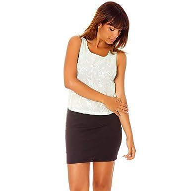 d3afeb9978a58 Miss Wear Line - Top débardeur Vert à Broderie: Amazon.fr: Vêtements ...