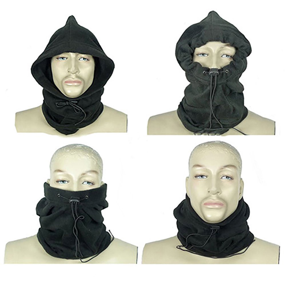 pengyu 4 In 1 Winter Sports Thermal Fleece Scarf Snood Neck Warmer Face Mask Beanie Hat