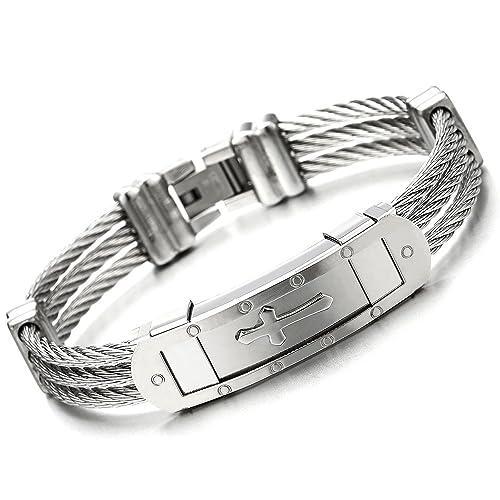 Amazon Com Mens Stainless Steel Id Identification Cross Bracelet
