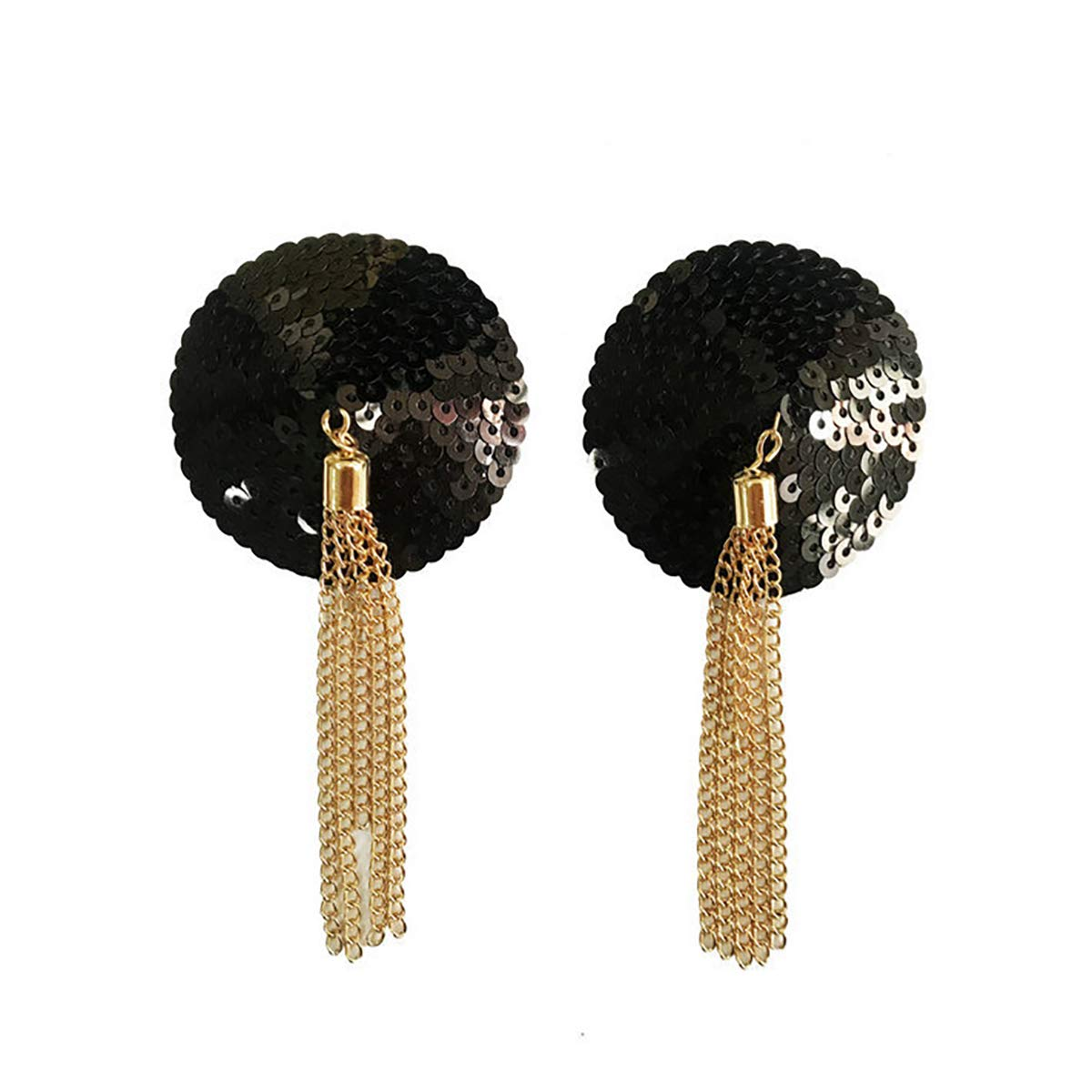 Shiny Sequin Lingerie Breast Bra Stickers Nipple Covers with Gold Metal Tassel