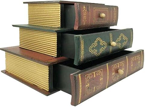 Tipo de Libro Vintage superpuesto Caja de joyería de Tres Capas ...