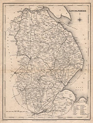 Antique county map of LINCOLNSHIRE by Walker & Creighton for Lewis - c1840 - old map - antique map - vintage map - printed maps of Lincolnshire