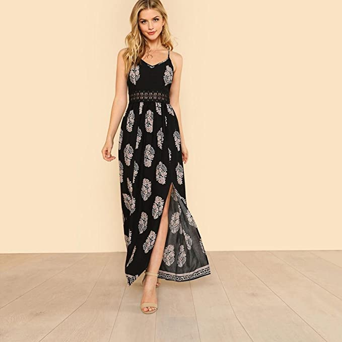 2d70fb6c00 TOTOD Womens Feather Long Boho Hollow Dress Lady Loose Beach Summer Sundrss Print  Maxi Dress at Amazon Women s Clothing store