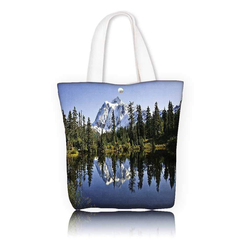 キャンバストートバッグ - W11 x H11 x D3 インチ/ショッピングトラベルトートバッグ 湖の家 装飾 秋の木と雪の山 風景 クリスタル湖の自然の写真 グリーン ブルー ホワイト W14 x H15.7 x D4.7 INCH W14 x H15.7 x D4.7 INCH カラー1 B07K2ZB6Q7