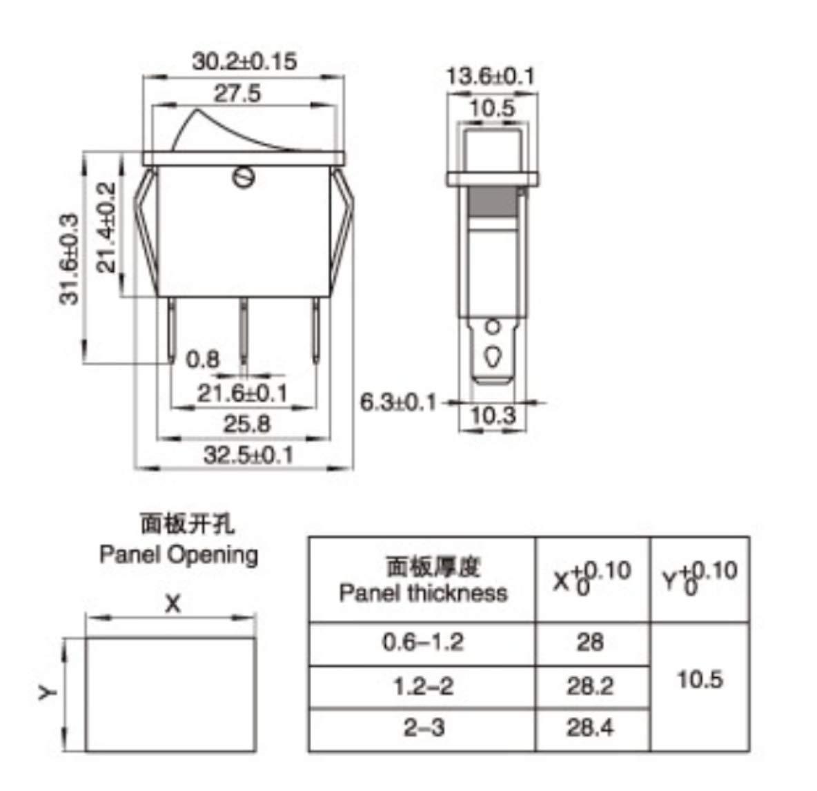 Interruptor negro 250 V 33 x 31 x 13 mm rectangular conmutador SPST 0//1 ON OFF KCD3
