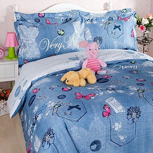 Norson Cotton Reactive Printed Bedding Set / Cowgirl Bedding Set / Beautiful Cartoon Bedding Sets / Kids Bedding / Twin / Queen / Not Fade (Cartoon Cowgirl)
