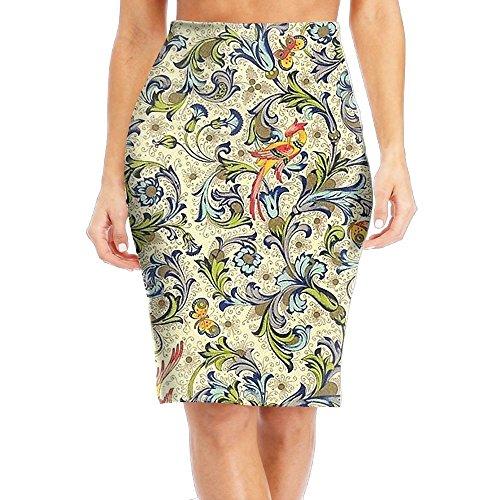 MEI WUD Plants and Birds Women Slim Skirt Pretty Pencil Skirts Knee Business Skirts