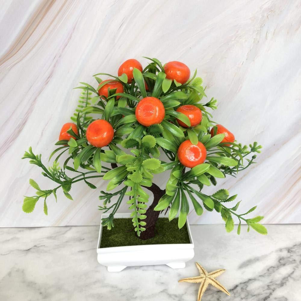 Arancio Quadrato ZXRRSHOP Árbol frutal de plástico Simulación verde Planta Bonsai Salón Maceta Maceta Paisaje decoración Creativo Artificial árbol de la Suerte