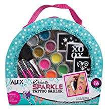 ALEX Toys - Spa Fun, Tattoo's and More, Deluxe Sparkle Tattoo Parlor Craft Kit with Travel Case, 799X